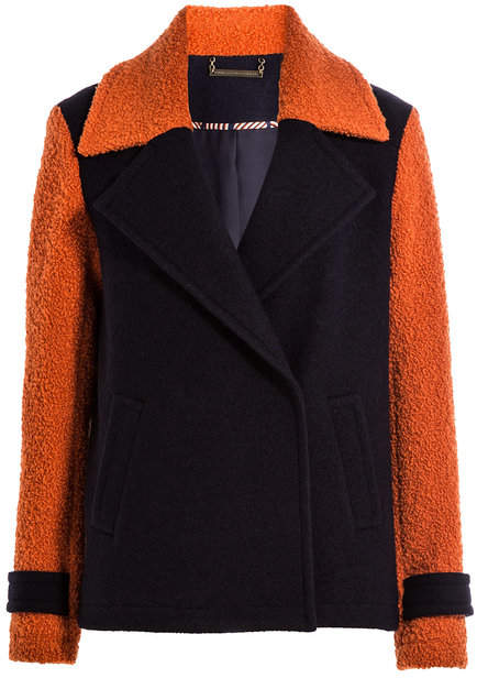 Diane von Furstenberg Color Block Wool Jacket