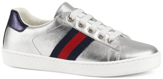 Gucci Little Kid's New Ace Metallic Leather Sneakers