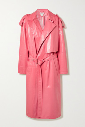 Bottega Veneta Convertible Crinkled Glossed-leather Trench Coat - Pink