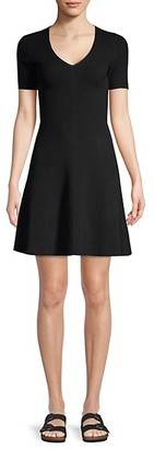 Theory Rib-Knit Fit--Flare Dress