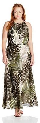 Sangria Women's Size Palm Print Chiffon Maxi Plus