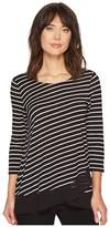 Vince Camuto 3/4 Sleeve Asymmetrical Chiffon Hem Step Stripe Top Women's Clothing