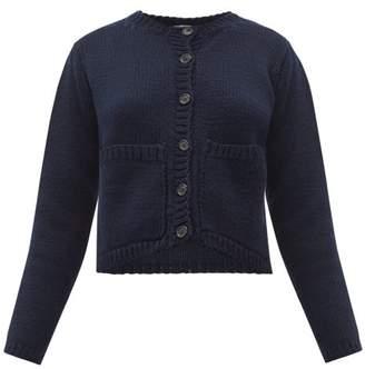 Margaret Howell Cropped Merino-wool Cardigan - Womens - Navy