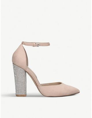 Aldo Nicholes embellished block-heel faux-suede courts