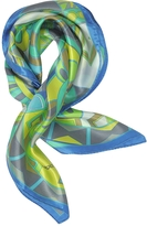 Laura Biagiotti Blue and Green Floral & Geometric Print Satin Silk Bandana