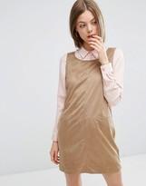 Vila Faux Suede Shift Dress in Camel