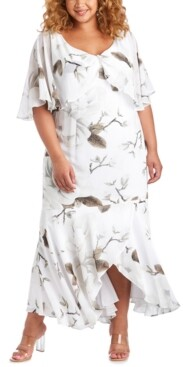R & M Richards Plus Size Floral-Print Capelet Gown