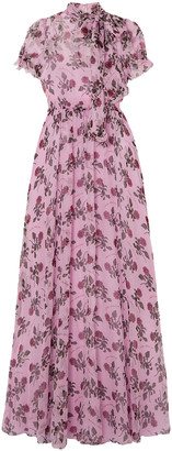 Valentino Shirred Floral-print Silk-chiffon Gown