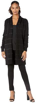 MICHAEL Michael Kors Tensel Stripe Long Cardigan (Black) Women's Clothing