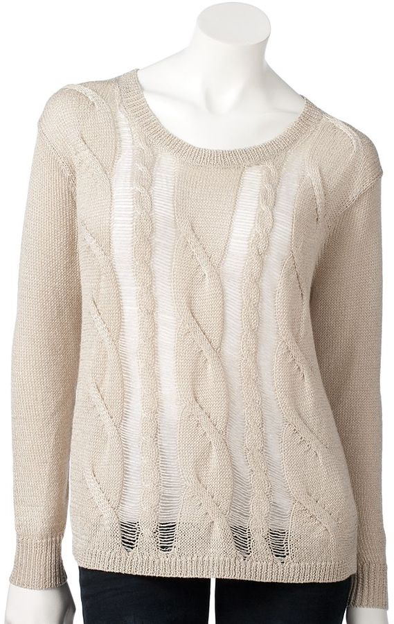 Rock & Republic cable-knit lurex sweater