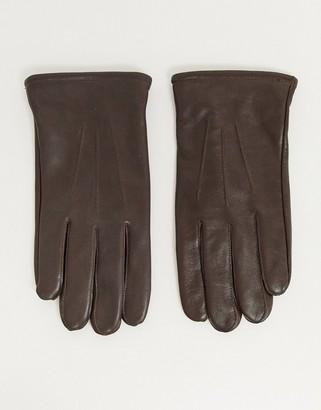 ASOS DESIGN brown leather gloves