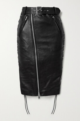Balenciaga Belted Lace-up Leather And Stretch-jersey Skirt