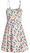 Alice + Olivia Pleated Floral-Print Cotton Mini Dress