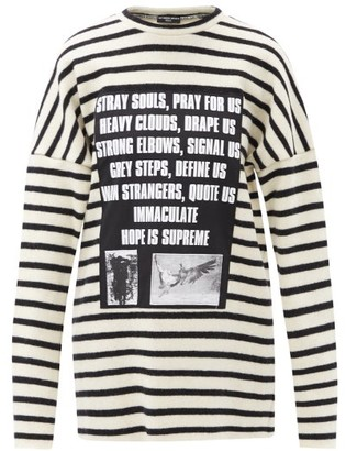Raf Simons Ss02 Applique Striped Wool Sweater - Black White