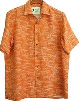 Vintage Silk Mens Silk Linen Blend Hawaiian Camp Shirt Floral Casual (XXL)