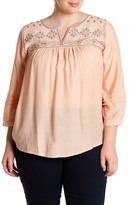 Blu Pepper Embroidered Long Sleeve Blouse (Plus Size)