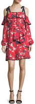 Tanya Taylor Doralee Tulip-Print Cold-Shoulder Tiered Dress