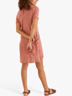 Fat Face FatFace Simone Ditsy Floral Print Jersey Dress, Dusty Pink