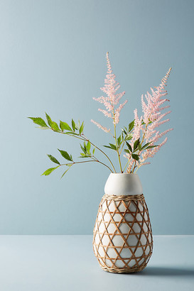 Anthropologie Woven Grass Vase By in White Size ALL