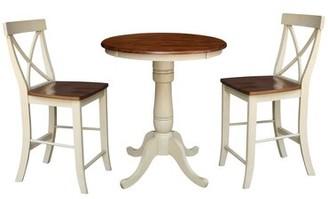Rosalind Wheeler Agnes 3 Piece Round Top Counter Height Pub Table Set Rosalind Wheeler Color: Antiqued Almond/Espresso
