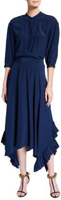 Stella McCartney 3/4-Sleeve Flowy Belted Silk Maxi Shirtdress