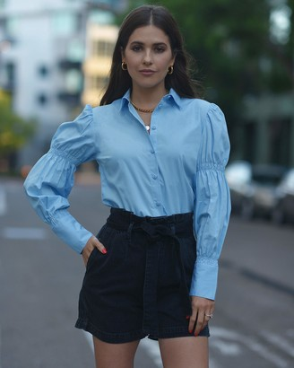 The Drop Women's Airy Blue Smocked Sleeve Button Down Shirt by @paolaalberdi XL