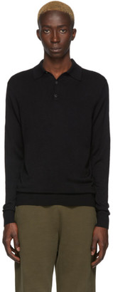 Sunspel Black Merino Wool Polo