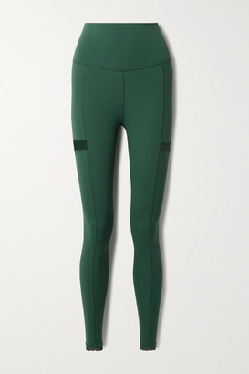 Nike Yoga Infinalon Lace-trimmed Dri-fit Leggings - Forest green