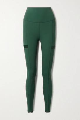 Nike Yoga Infinalon Lace-trimmed Dri-fit Leggings - Forest green