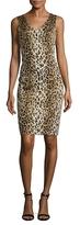 Carolina Herrera Leopard Printed Sleeveless Sheath Dress