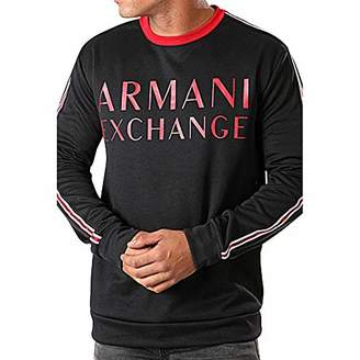 Armani Exchange A|X Men's Crew Neck Pullover with Sleeve Stripe