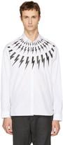 Neil Barrett White Fairisle Thunderbolt Shirt