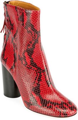 Isabel Marant Garett Snake-Print Zip Booties