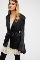 Free People Flared Sleeve Satin Blazer