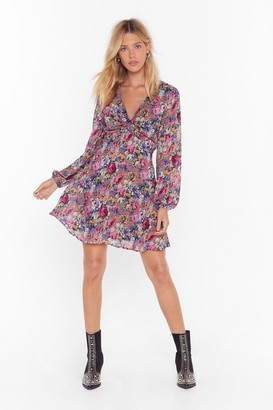 Nasty Gal Womens Rose For Pictures Floral Mini Dress - Mauve