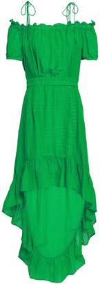 Baum und Pferdgarten Cold-shoulder Silk And Linen-blend Jacquard Dress