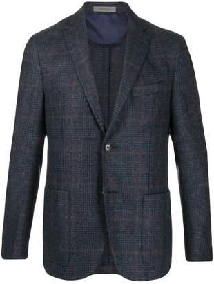 Corneliani check-print single-breasted blazer