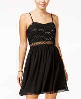 Amy Byer Juniors' Sequined Lace Fit & Flare Dress