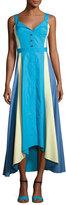 Peter Pilotto Paneled Cotton Midi Dress, Turquoise