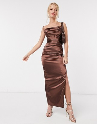 Flounce London backless midaxi slip dress with thigh split in chocolate