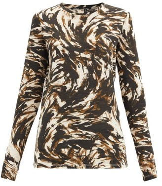 Proenza Schouler Feather-print Cotton-jersey Long-sleeved T-shirt - Brown Multi