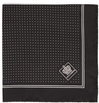 Dolce & Gabbana Jacquard Pin-dot Silk-twill Pocket Square - Mens - Black Multi