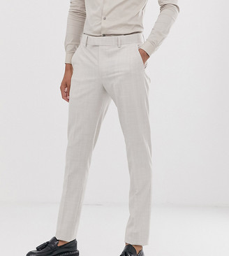 ASOS DESIGN Tall wedding skinny suit pants in taupe cross hatch