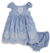 Laura Ashley Baby Girls Baby Girl Embroidered Chambray Dress and Bloomers Set