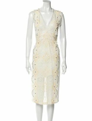 Veronica Beard Lace Pattern Midi Length Dress White