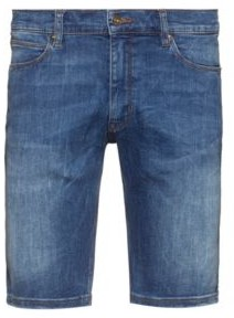 HUGO BOSS Slim Fit Shorts In Washed Stretch Denim - Blue