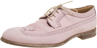 Louis Vuitton Pink Brogue Nubuck Leather Melrose Derby Size 43