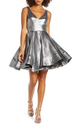 Mac Duggal Metallic Fit & Flare Cocktail Dress