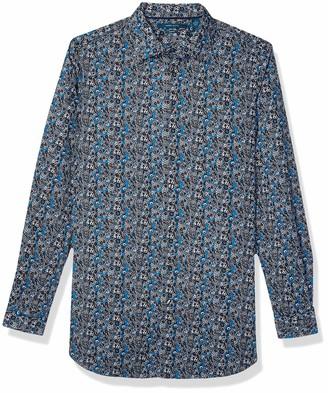 Perry Ellis Men's Big Floral Paisley Print Stretch Long Sleeve Shirt