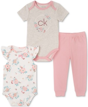 Calvin Klein Baby Girls 3-Piece Printed Bodysuits & Jogger Pants Set